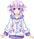 1girl choker choujigen_game_neptune face hair_ornament hoodie neptune_(choujigen_game_neptune) neptune_(series) official_art pink_hair purple_hair short_hair smile solo transparent_background tsunako usb zipper