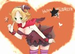 1girl bel_(pokemon) bent_over blonde_hair blush breasts cleavage commentary_request dress english green_eyes halloween hat heart kabasaki lolita_fashion open_mouth pointing pokemon pokemon_(game) pokemon_bw pumpkin short_hair solo star thighhighs witch