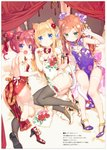 3: 3girls :d :o absurdres animal_ears ass bangs barefoot bed_sheet bell blonde_hair blue_eyes blush bow breasts brown_hair bun_cover cat_ears cat_girl cat_tail china_dress chinese_clothes claw_pose double_bun dress eyebrows_visible_through_hair fang floral_print flower green_eyes grey_legwear hair_between_eyes hair_flower hair_ornament hazuki_watora high_heels highres huge_filesize jingle_bell kemonomimi_mode long_hair looking_at_viewer minazuki_sarami multiple_girls no_panties open_mouth original panties parted_lips paw_pose peko pelvic_curtain pink_panties print_dress print_footwear purple_dress purple_eyes purple_footwear red_bow red_dress red_flower red_footwear red_hair scan shimotsuki_potofu shoes side-tie_panties side_bun single_shoe single_thighhigh small_breasts smile soles tail tail_bow thighhighs translation_request twintails underwear v-shaped_eyebrows very_long_hair white_dress white_footwear white_legwear white_panties