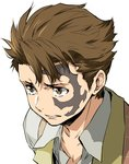 1boy absurdres baccano! brown_eyes brown_hair enami_katsumi highres jacuzzi_splot male_focus solo tattoo