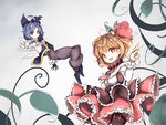 2girls alternate_costume belt blonde_hair blue_eyes blue_hair boots bow breasts capelet cirno dress fairy_wings fang frilled_skirt frilled_sleeves frills gloves hair_bow hair_ribbon highres layered_dress looking_at_viewer multiple_girls neetsr open_mouth pants pointing pointing_at_viewer red_eyes red_ribbon ribbon rumia short_hair skirt smile touhou vest wings