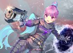 1girl aguy alternate_costume alternate_hairstyle anchor_symbol apex_legends bangs banner belt belt_buckle blue_hair blush bodysuit braid breasts buckle commentary_request cosplay cowboy_shot electricity eyebrows_visible_through_hair gloves grey_bodysuit gun hair_between_eyes hair_bun handgun holding holding_gun holding_weapon hololive looking_at_viewer minato_aqua multicolored_hair open_mouth pants pink_hair portal_(object) purple_eyes ribbon scarf short_hair sidelocks small_breasts solo standing two-tone_hair utility_belt virtual_youtuber weapon wraith_(apex_legends) wraith_(apex_legends)_(cosplay)