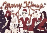 5others alternate_costume androgynous antarcticite antlers black_eyes black_hair bort christmas_tree closed_eyes diamond_(houseki_no_kuni) elbow_gloves eyebrows_visible_through_hair eyes_visible_through_hair gem_uniform_(houseki_no_kuni) gloves gold golden_arms green_eyes green_hair hair_over_one_eye hat houseki_no_kuni long_bangs long_hair looking_at_viewer mercury merry_christmas multiple_others necktie phosphophyllite red_eyes red_hair santa_hat scarf shinsha_(houseki_no_kuni) short_hair snowman thighhighs white_background white_eyes white_hair
