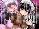 1boy 2girls atahuta bangs black_gloves black_hair black_nails blunt_bangs blush bonnet caressing_testicles celestia_ludenberck cock_ring commentary_request condom danganronpa danganronpa_1 drill_hair facial fellatio femdom ffm_threesome foreskin gloves group_sex heart heart-shaped_pupils hetero kirigiri_kyouko long_hair multiple_fellatio multiple_girls naegi_makoto nail_polish oral penis pov purple_eyes red_eyes red_neckwear smegma symbol-shaped_pupils threesome tongue tongue_out translated twin_drills used_condom