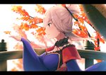 1girl asymmetrical_hair autumn_leaves breasts cleavage closed_mouth eyebrows_visible_through_hair fate/grand_order fate_(series) half_updo halterneck hand_up hat hat_removed headwear_removed japanese_clothes letterboxed long_hair long_sleeves magatama medium_breasts miyamoto_musashi_(fate/grand_order) pink_hair purple_eyes sleeves_past_wrists smile solo tree upper_body wide_sleeves yukarite