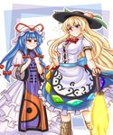 2girls alternate_hairstyle anger_vein armband bangs blonde_hair blue_eyes blue_hair boots bow breast_envy breasts clothes_grab commentary_request cosplay costume_switch cross-laced_footwear dress eyebrows_visible_through_hair flying_sweatdrops food frilled_skirt frills fruit hair_between_eyes hair_ribbon hairstyle_switch hand_on_hip hands_on_own_chest hat hat_ribbon hinanawi_tenshi knee_boots layered_dress layered_skirt leaf long_hair long_sleeves looking_at_another looking_at_viewer mail_(mail_gell) medium_breasts mob_cap multiple_girls peach pout puffy_short_sleeves puffy_sleeves red_bow red_eyes ribbon short_sleeves skirt smile standing sword_of_hisou tabard tight_dress touhou trembling tress_ribbon trigram wavy_mouth white_dress yakumo_yukari yin_yang