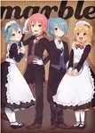 4boys alternate_costume apron blonde_hair blue_eyes blue_hair blush brown_eyes butler crossdressing dress enmaided green_eyes inazuma_eleven inazuma_eleven_(series) inazuma_eleven_go kariya_masaki kazemaru_ichirouta kirino_ranmaru looking_at_viewer maid maid_headdress male_focus miyasaka_ryou multiple_boys necktie one_side_up otoko_no_ko pantyhose pink_hair ponytail smile tomo_(sjim)