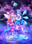 2girls :d :o absurdres american_flag_dress american_flag_legwear bangs blonde_hair blue_dress blue_eyes blue_hair cirno cloudytian clownpiece collared_shirt commentary diamond_(shape) dress earth fairy_wings frilled_dress frilled_legwear frills hair_ribbon hands_together hat heart highres holding_hands ice ice_wings interlocked_fingers jester_cap long_hair multiple_girls neck_ribbon neck_ruff open_mouth polka_dot polka_dot_hat purple_eyes purple_hat red_ribbon red_shoes ribbon ripples shirt shoes short_hair short_sleeves sky sleeveless sleeveless_dress smile space star star_(sky) star_tattoo starry_sky striped tattoo touhou very_long_hair white_legwear white_shirt wings