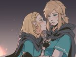 1boy 1girl asutora black_cape black_gloves blonde_hair blue_eyes blush cape earrings fingerless_gloves gloves jewelry link looking_at_another pointy_ears princess_zelda short_hair sketch the_legend_of_zelda the_legend_of_zelda:_breath_of_the_wild the_legend_of_zelda:_breath_of_the_wild_2
