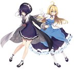 2girls ahoge arm_up bare_legs black_footwear black_hairband black_hat black_neckwear black_ribbon blonde_hair blue_dress blue_eyes breasts coat commentary_request crescent crescent_moon_pin dress eyebrows_visible_through_hair frilled_sleeves frills full_body gloves hair_over_one_eye hairband hat high_heels jewelry layered_dress long_sleeves looking_at_viewer medium_breasts multiple_girls neck_ribbon necklace necomi open_clothes open_coat original outstretched_arm pantyhose pendant purple_dress purple_hair red_eyes ribbon sailor_collar sailor_dress short_hair simple_background skirt_hold sparkle_print v virtual_youtuber white_background white_gloves white_legwear white_sailor_collar