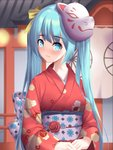 1girl absurdres architecture bangs blue_eyes blue_hair blush bow cloud_print commentary east_asian_architecture flower fox_mask hands_together hatsune_miku head_tilt hfmt7223 highres japanese_clothes kimono long_hair looking_at_viewer mask obi red_kimono rose sash solo turning_head twintails very_long_hair vocaloid yellow_bow
