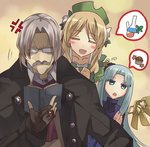 1boy 2girls akatoro_(nightlord) anger_vein annoyed atelier_(series) atelier_ayesha ayesha_altugle blue_eyes blue_hair blush_stickers brown_hair closed_eyes coat cravat facial_hair fingerless_gloves flask glasses gloves grey_hair hat jewelry keithgrif_hazeldine long_hair muffin multiple_girls mustache odelia_(atelier) reading ring smile speech_bubble wings