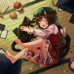 1girl animal animal_ears barefoot brown_hair card cat cat_ears cat_tail chen chinese_clothes closed_eyes cushion frilled_skirt frills from_above from_side full_body green_headwear hat highres holding holding_animal holding_cat indoors iroha_karuta jewelry long_sleeves lying marble mob_cap multiple_tails nekomata on_back open_mouth red_skirt red_vest sero3eta shirt single_earring skirt tail tatami touhou two_tails vest white_shirt zabuton