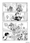 2girls 3boys 4koma artist_name book cape chiki comic commentary_request earrings eirika eyebrows_visible_through_hair falchion_(fire_emblem) feh_(fire_emblem_heroes) fire_emblem fire_emblem:_kakusei fire_emblem:_monshou_no_nazo fire_emblem:_seima_no_kouseki fire_emblem:_thracia_776 fire_emblem_heroes greyscale grin highres holding holding_sword holding_weapon hood jewelry krom long_hair monochrome multiple_boys multiple_girls nakabayashi_zun open_mouth pointy_ears ponytail prank reinhardt_(fire_emblem) shoulder_pads sleeveless smile summoner_(fire_emblem_heroes) sword tiara weapon