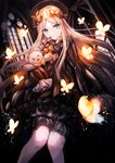 abigail_williams_(fate/grand_order) black_bow black_dress black_hat blonde_hair bloomers blue_eyes bow bug butterfly dark dress fate/grand_order fate_(series) glowing hat highres holding holding_stuffed_animal indoors insect jan_(lightdragoon) knees_together_feet_apart light_particles long_hair looking_at_viewer orange_bow polka_dot polka_dot_bow stuffed_animal stuffed_toy teddy_bear underwear