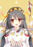 1girl 2017 :d bare_shoulders bird black_hair breasts chicken chinese_zodiac commentary_request detached_sleeves hair_ornament hairband hairclip haruna_(kantai_collection) holding_bird kantai_collection large_breasts long_hair looking_at_viewer nengajou new_year nontraditional_miko open_mouth shigunyan smile solo upper_body year_of_the_rooster