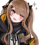 1girl :3 bangs blush brown_hair eyebrows_visible_through_hair fang girls_frontline hair_ornament hair_ribbon hairclip head_tilt kairi630 long_hair looking_at_viewer open_mouth red_eyes ribbon scar scar_across_eye scarf simple_background solo sparkle sparkling_eyes twintails ump9_(girls_frontline) upper_body white_background