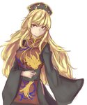 1girl blonde_hair commentary_request crescent hat high_collar highres junko_(touhou) kanaria_(bocmn) long_hair looking_at_viewer red_eyes simple_background sketch sleeves_past_fingers smile solo tabard touhou white_background wide_sleeves