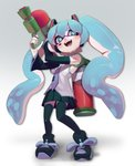 +_+ 1girl absurdres aqua_eyes aqua_hair bare_shoulders black_footwear black_legwear black_skirt commentary cosplay detached_sleeves domino_mask english_commentary floating_hair gradient gradient_background grey_background hair_ornament hatsune_miku hatsune_miku_(cosplay) headphones headset highres holding holding_weapon ink_tank_(splatoon) inkling long_hair mask necktie pleated_skirt shoes skirt sneakers solo splatoon_(series) splattershot_(splatoon) symbol-shaped_pupils tentacle_hair thighhighs topdylan twintails very_long_hair vocaloid weapon white_background