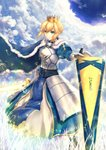 1girl ahoge armor armored_dress artoria_pendragon_(all) avalon_(fate/stay_night) blonde_hair blue_cape braid breastplate cape closed_mouth crown dress expressionless fal fate/grand_order fate/stay_night fate_(series) french_braid gauntlets gloves green_eyes highres looking_at_viewer pixiv_fate/grand_order_contest_2 saber short_hair solo