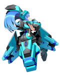 1girl ass blue_eyes blue_hair bodysuit cosmic_break lily_rain mecha_musume solo wakaba