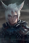 1boy artist_name bangs blue_eyes character_request chuby_mi closed_mouth facial_mark final_fantasy final_fantasy_xiv hair_between_eyes heterochromia highres looking_at_viewer male_focus red_eyes serious slit_pupils solo white_hair