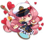 1girl animal_ears azur_lane blush bow cat_ears cat_tail character_request chibi closed_mouth crumbs eyebrows_visible_through_hair food full_body hat hat_bow heart holding holding_plate long_sleeves looking_at_viewer meowficer_(azur_lane) muuran official_art one_eye_closed pantyhose pink_bow pink_eyes pink_hair plate pound_(azur_lane) red_bow smile solo tail transparent_background white_headwear white_legwear