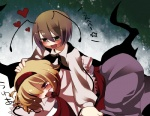 2girls alice_margatroid antennae bad_id bad_pixiv_id blonde_hair blue_eyes blush green_eyes heart marisu multiple_girls short_hair touhou translated wriggle_nightbug you_gonna_get_raped yuri