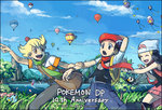 1girl 2016 2boys aircraft anniversary arm_behind_head bag beanie beret black_border black_hair blonde_hair blue_eyes blue_hair blue_sky border closed_eyes cloud dated day drifloon gen_4_pokemon grass green_scarf hair_ornament hairclip hat hikari_(pokemon) hot_air_balloon jacket jun_(pokemon) kouki_(pokemon) lake looking_at_another messenger_bag mountain multiple_boys orange_eyes outdoors pink_scarf pointing pokemon pokemon_(creature) pokemon_(game) pokemon_dppt red_scarf running scarf shinx short_sleeves shoulder_bag sky smile starly terimachi tree twitter_username