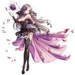 1girl armpits bare_shoulders black_flower black_rose blush bouquet breasts bridal_gauntlets bridal_legwear bridal_veil circlet dress fingerless_gloves flower garters gloves hair_flower hair_ornament high_heels king's_raid large_breasts lewisia_(king's_raid) long_hair official_art petals rose silver_hair solo thighhighs thorn_print transparent_background veil wedding_dress yellow_eyes