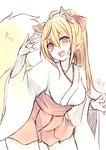 1girl :d animal_ear_fluff animal_ears bangs blonde_hair blush breasts chita_(ketchup) cleavage collarbone eyebrows_visible_through_hair fox_ears fox_girl fox_tail hair_between_eyes hand_up head_tilt high_ponytail japanese_clothes kimono leaning_forward long_hair medium_breasts open_mouth original pleated_skirt ponytail red_eyes red_skirt short_eyebrows signature skirt smile solo tail tail_raised thick_eyebrows very_long_hair white_kimono
