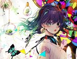 1girl abstract black_choker blue_eyes butterfly choker colorful daimaou_ruaeru earrings gradient_hair green_hair highres jewelry light_bulb lips looking_at_viewer looking_to_the_side mole mole_under_eye multicolored_hair original plant purple_hair short_hair solo triangle upper_body