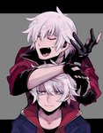 2boys bangs black_gloves blue_eyes closed_eyes closed_mouth dante_(devil_may_cry) devil_may_cry devil_may_cry_4 eyebrows_visible_through_hair facial_hair fang fingerless_gloves gloves grey_background mako_gai multiple_boys nero_(devil_may_cry) open_mouth shaded_face simple_background sleeves_rolled_up