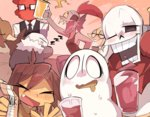alphys androgynous bird blue_skin blush bow bowtie brown_hair closed_eyes cup drooling duck eyepatch fire frisk_(undertale) g_perarikku ghost glasses gloves grillby grin head_fins hood hoodie long_sleeves milk_carton monster_girl multiple_boys multiple_girls napstablook one_eye_closed open_mouth papyrus_(undertale) ponytail red_hair sans sharp_teeth shirt skeleton sleeping smile striped striped_shirt sweatdrop tank_top teeth undertale undyne yellow_skin zzz