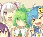 4girls :d ;d >_< ahoge blue_hair borrowed_character closed_eyes double_v green_eyes green_hair hair_bobbles hair_ornament linda_b_(linda_b) lino-lin looking_at_viewer mofetousu_furuna multiple_girls one_eye_closed open_mouth original pomo_(lino-lin) purple_eyes red_eyes school_uniform serafuku short_hair silver_hair smile twintails v wavy_mouth xd