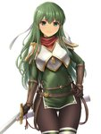 1girl armor ass_visible_through_thighs bangs belt breastplate brown_legwear closed_mouth covered_navel cowboy_shot elbow_gloves eyebrows_visible_through_hair fire_emblem fire_emblem:_monshou_no_nazo gloves green_eyes green_hair hand_on_hip headband highres holding holding_sword holding_weapon inanaki_shiki long_hair looking_at_viewer pantyhose paola pegasus_knight scabbard sheath shoulder_armor side_slit sidelocks simple_background smile solo sword thigh_gap thighhighs unsheathed weapon white_background