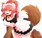 1girl :d animal_ear_fluff animal_ears apron arano_oki bangs bell bell_collar blush bow breasts brown_footwear brown_gloves cleavage collar commentary_request dress eyebrows_visible_through_hair fang fate/grand_order fate_(series) fox_ears fox_girl fox_tail frilled_dress frills gloves hair_between_eyes hair_bow high_ponytail jingle_bell large_breasts looking_at_viewer maid maid_headdress open_mouth paw_gloves paw_shoes paws pink_hair pleated_dress ponytail puffy_short_sleeves puffy_sleeves red_bow red_collar red_eyes shoes short_sleeves simple_background smile solo tail tail_raised tamamo_(fate)_(all) tamamo_cat_(fate) white_apron white_background