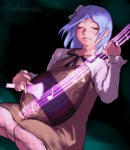 1girl biwa_lute blue_hair brown_dress closed_eyes closed_mouth commentary_request dress dutch_angle gengoroumaru_(ambidextrous) highres instrument long_sleeves lute_(instrument) music musical_note playing_instrument seiza sitting solo touhou tsukumo_benben twitter_username