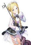 1girl abigail_williams_(fate/grand_order) absurdres ass bangs black_dress blonde_hair blue_eyes blush braid dress eyebrows_visible_through_hair fate/grand_order fate_(series) hair_ornament highres holding_key key keyhole long_hair long_sleeves looking_at_viewer parted_bangs simple_background sleeves_past_fingers sleeves_past_wrists sog-igeobughae solo tentacles white_background white_dress