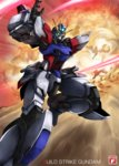 artist_name build_strike_gundam character_name energy_sword explosion gundam gundam_build_fighters gyan haganef highres mecha no_humans shield sword weapon