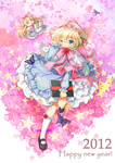 1girl 2012 :x adjusting_hair alice_margatroid blonde_hair bloomers blue_eyes blush book bow bug butterfly capelet doll dress hairband highres insect long_hair mary_janes new_year one_eye_closed shanghai_doll shoes short_hair silver15 solo touhou underwear wince