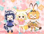 3girls :d ^_^ animal_ear_fluff animal_ears animal_print black_gloves black_skirt blonde_hair blunt_ends blush_stickers bow bowtie chibi closed_eyes common_raccoon_(kemono_friends) dress_shirt elbow_gloves extra_ears facing_viewer fennec_(kemono_friends) fox_ears fox_tail gloves holding_hands kemono_friends leopard_print looking_at_viewer milo motomiya_kana multiple_girls open_mouth petals pleated_skirt raccoon_ears raccoon_tail ribbon seiyuu_connection serval_(kemono_friends) serval_ears serval_print serval_tail shirt short_hair skirt smile standing star sweater tail thighhighs twitter_username white_footwear white_skirt