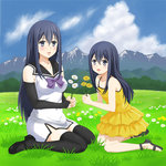 1girl bare_shoulders blue_hair bow breasts bridal_gauntlets cloud dress dual_persona flower gokukoku_no_brynhildr grass koishi_(pxvtake) kuroha_neko lavender_eyes long_hair mountain outdoors sailor_collar sandals shoes sitting sky sleeveless thighhighs time_paradox wariza yellow_dress younger zettai_ryouiki