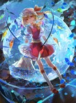 1girl blonde_hair blue_rose bouquet dutch_angle flandre_scarlet flower full_body full_moon hat highres moon petals red_eyes rose short_hair side_ponytail solo touhou vima wings