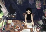 1girl acorn animated bangs berries bird black_dress black_eyes black_hair book boots bottle box broom bug butter_knife butterfly candle candy chair clover coffee_mug commentary cup day desk dress envelope feathers flower food fork gift gift_box hat hat_removed headwear_removed herb_bundle holding hourglass indoors ink_bottle insect inunoya jewelry knife lantern long_hair mug open_book original paper pen pie pinecone pixel_art plate pocket_watch quill seashell shell sitting sleeveless solo spoon stamp sunlight teapot ugoira vial watch watering_can window witch_hat wrapped_candy writing yarn yarn_ball
