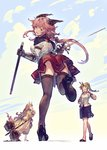 3girls ass bangs benitama black_legwear black_skirt blonde_hair blush cloak closed_eyes commentary_request eyebrows_visible_through_hair flats floating_hair gauntlets granblue_fantasy_(style) green_eyes hair_flaps hammer high_heels holding holding_sword holding_weapon horn horns leg_up long_hair looking_at_viewer looking_back multiple_girls open_mouth original pencil_skirt pink_hair pointy_ears ponytail red_skirt sidelocks skirt standing standing_on_one_leg sword thighhighs thighs weapon yawning