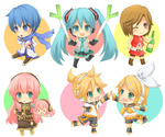 2boys 4girls aqua_eyes aqua_hair arare_(aboshi) belt blonde_hair blue_eyes blue_hair blue_scarf brown_eyes brown_hair chibi detached_sleeves eating food green_eyes hair_ornament hair_ribbon hairclip hatsune_miku headset high_five ice_cream kagamine_len kagamine_rin kaito long_hair megurine_luka meiko multiple_boys multiple_girls necktie one_eye_closed open_mouth pink_hair ribbon scarf skirt smile spring_onion takoluka thighhighs twintails very_long_hair vocaloid