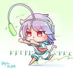 1girl aqua_sailor_collar asimo953 bangs barefoot blush cat-shaped_pupils cat_girl cat_tail cat_teaser chasing chibi commentary_request eyebrows_visible_through_hair full_body hairband highres kantai_collection lavender_hair motion_lines neckerchief open_mouth outstretched_arms red_eyes red_neckwear running sailor_collar school_uniform serafuku shirt short_hair short_sleeves shorts simple_background sleeve_cuffs solo speed_lines symbol-shaped_pupils tail tama_(kantai_collection) translation_request triangle_mouth twitter_username v-shaped_eyebrows whisker_markings white_background white_shirt white_shorts yellow_hairband