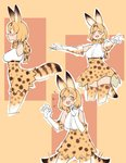 +++ 1girl :d animal_ears bare_shoulders blonde_hair blush bow bowtie commentary cropped_legs elbow_gloves fang gloves high-waist_skirt highres kemono_friends mabbakmoe medium_hair multiple_views open_mouth outline outstretched_arms print_gloves print_legwear print_neckwear print_skirt profile serval_(kemono_friends) serval_ears serval_print serval_tail shirt simple_background skirt sleeveless sleeveless_shirt smile spread_arms tail tail_wagging thighhighs white_outline white_shirt yellow_eyes
