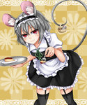 1girl alternate_costume animal_ears apron basket bent_over black_dress black_legwear cheesecake dress enmaided feeding fork garter_straps grey_hair hairband highres lolita_hairband maid mouse mouse_ears mouse_tail nazrin plate puffy_short_sleeves puffy_sleeves red_eyes shirt short_sleeves smirk solo tail thighhighs tokoya touhou tray waist_apron